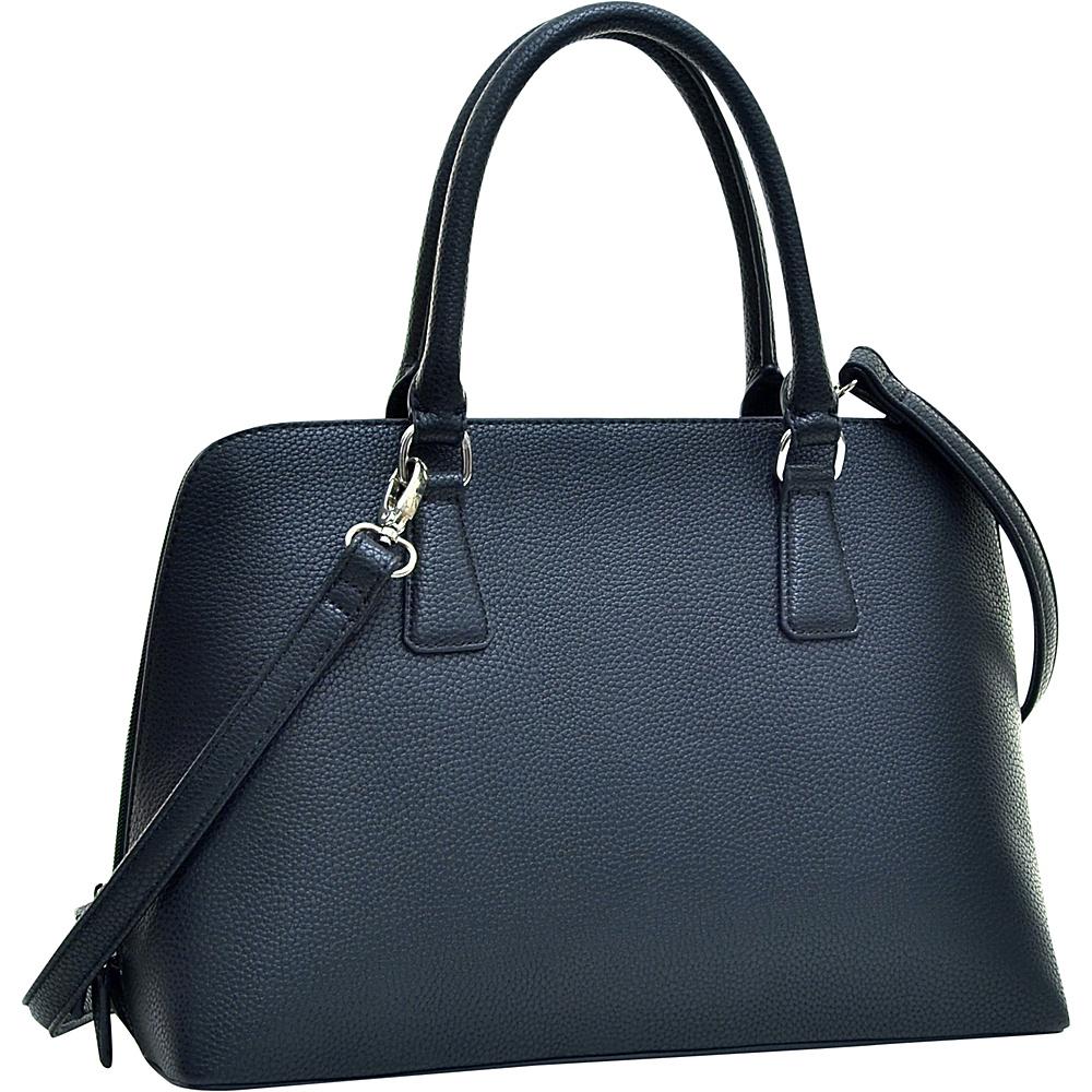 Dasein Buffalo Faux Leather Zip-Around Handbag Black - Dasein Manmade Handbags - Handbags, Manmade Handbags