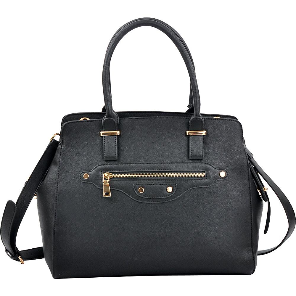 Dasein Saffianon Medium Satchel with Shoulder Strap Black - Dasein Manmade Handbags - Handbags, Manmade Handbags