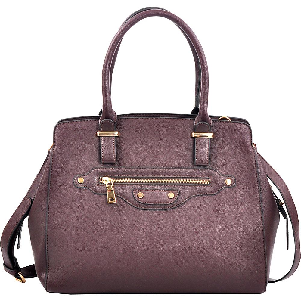 Dasein Saffianon Medium Satchel with Shoulder Strap Coffee - Dasein Manmade Handbags - Handbags, Manmade Handbags