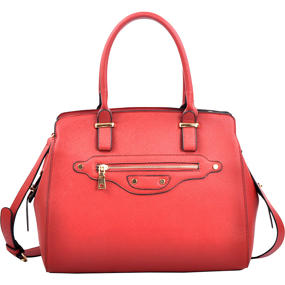 Dasein Saffianon Medium Satchel with Shoulder Strap Red - Dasein Manmade Handbags - Handbags, Manmade Handbags