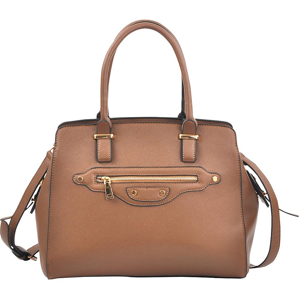 Dasein Saffianon Medium Satchel with Shoulder Strap Tan - Dasein Manmade Handbags - Handbags, Manmade Handbags