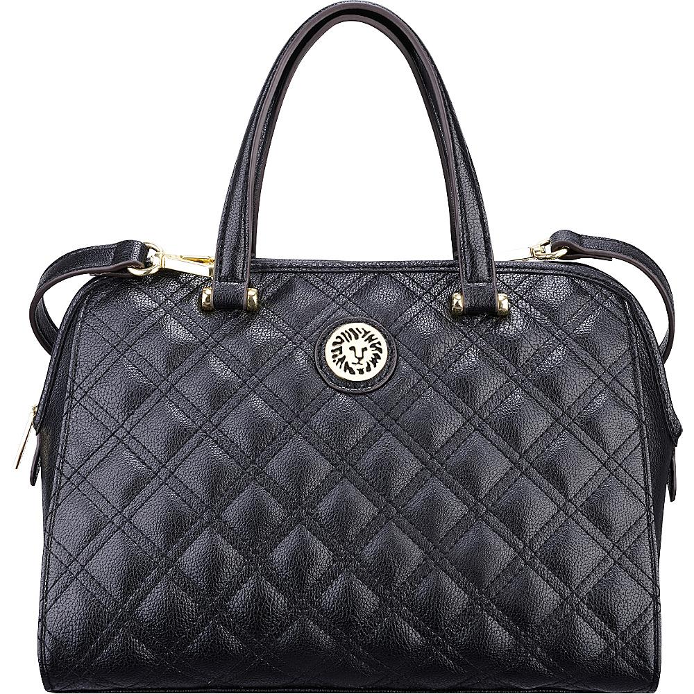 Anne Klein Dressed to Quilt Medium Satchel Black/Black - Anne Klein Manmade Handbags