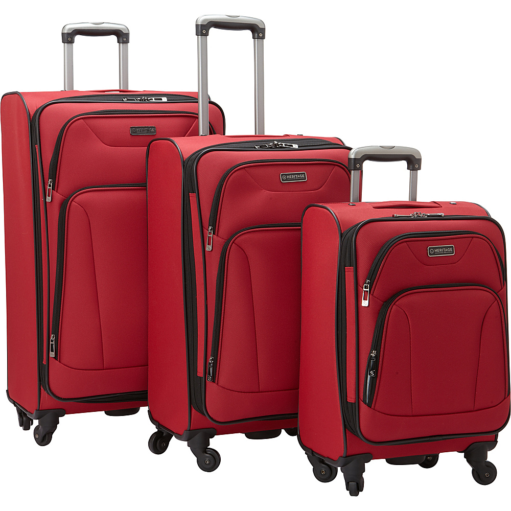 Heritage Wicker Park 3 Piece Luggage Set Red Heritage Luggage Sets