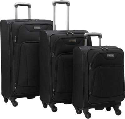 Heritage Wicker Park 3-Piece Luggage Set Black - Heritage Luggage Sets