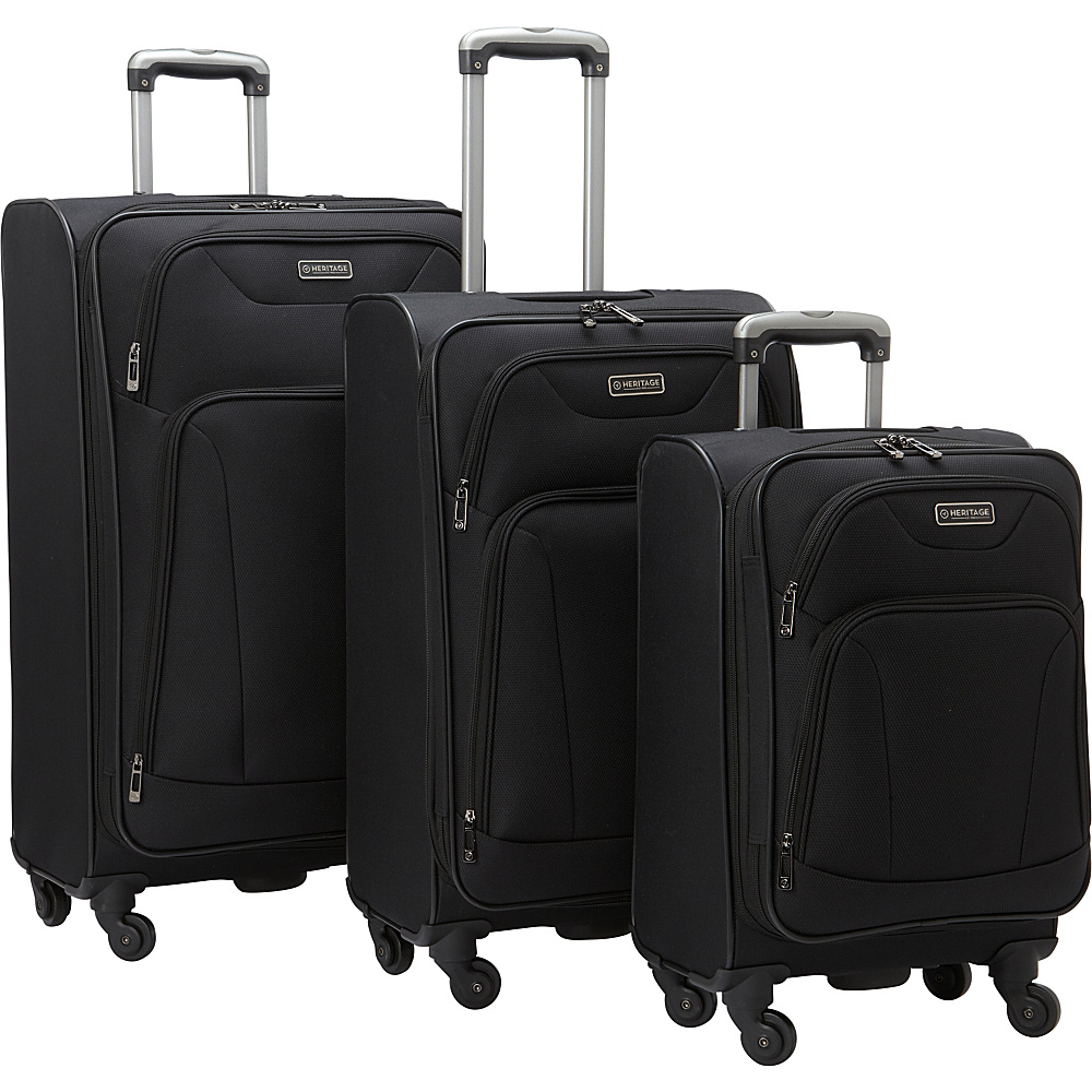 Heritage Wicker Park 3 Piece Luggage Set Black Heritage Luggage Sets