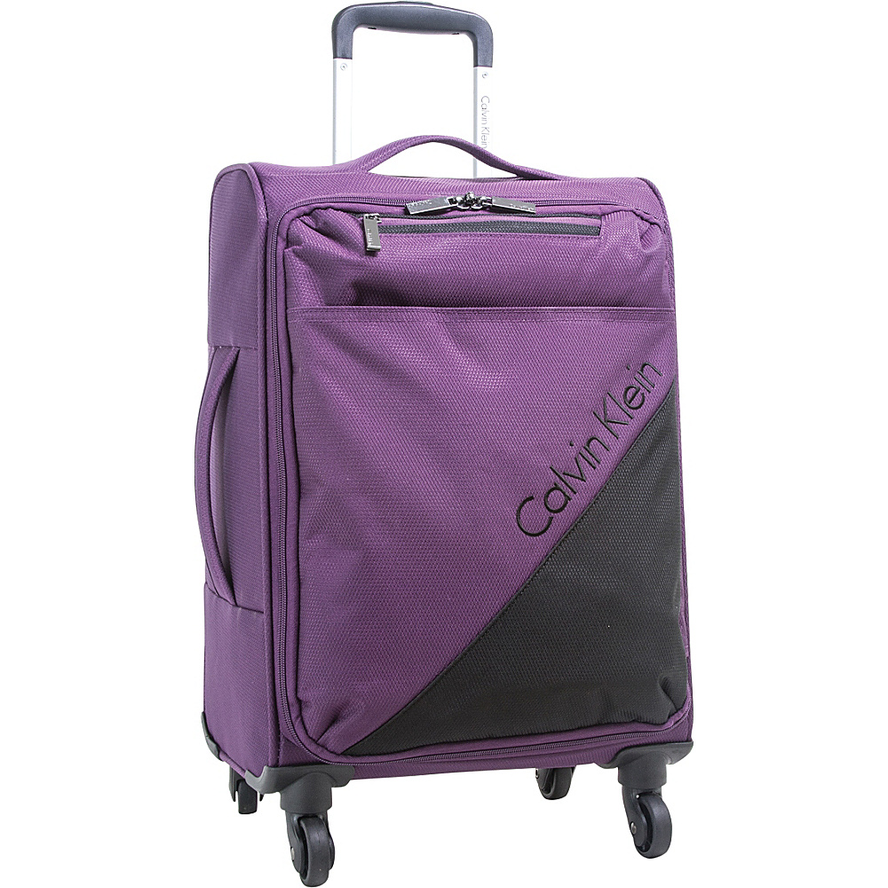 Calvin Klein Luggage Chelsea 25 Upright Softside Spinner Purple - Calvin Klein Luggage Large Rolling Luggage