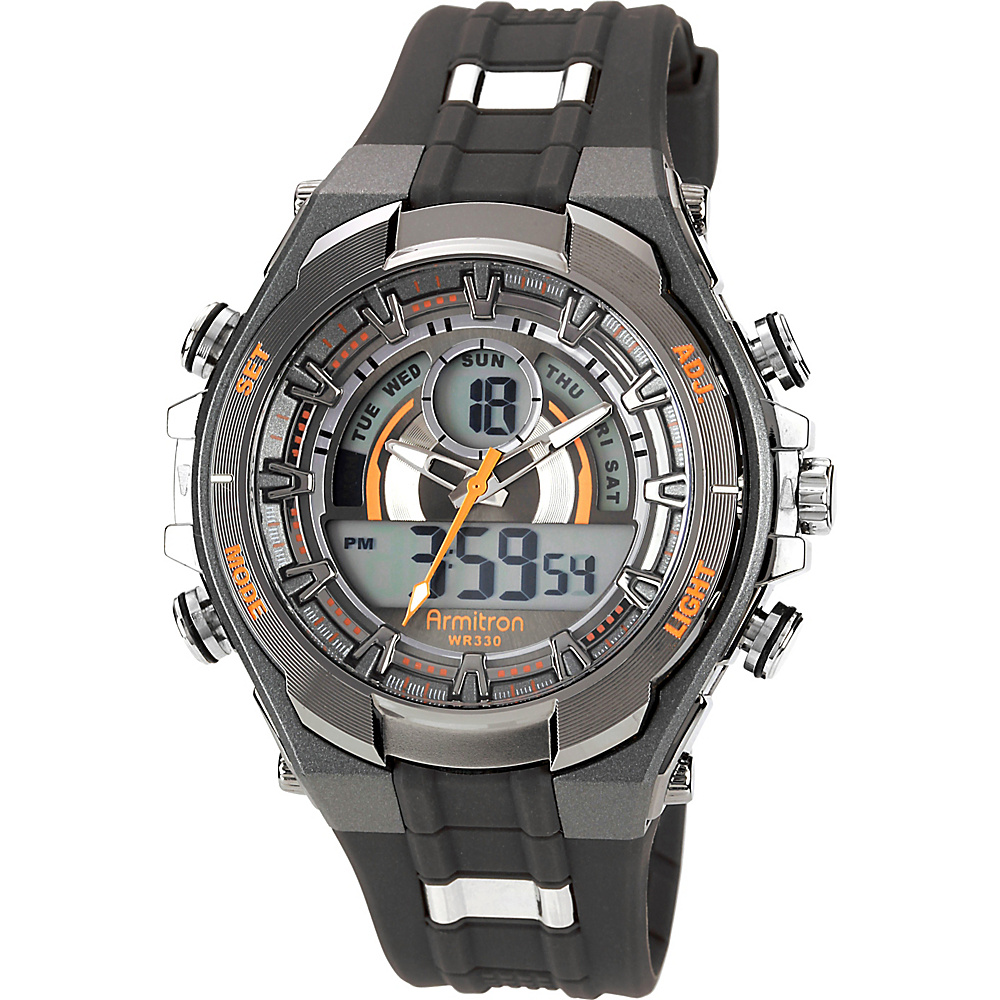 Armitron Sport Mens Watch with Black Band Orange Armitron Watches