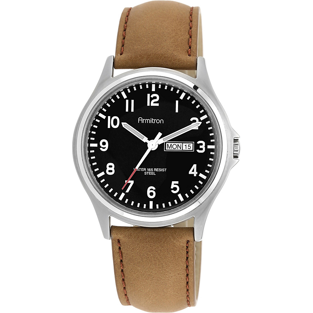 Armitron Mens Day Date Function Dial Leather Strap Watch Black Armitron Watches