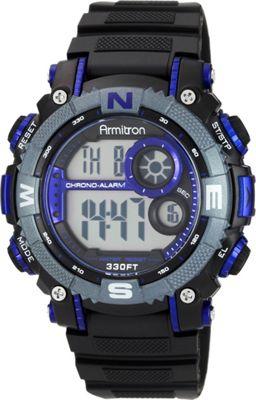 Armitron Sport Mens Digital Chronograph Resin Strap Watch Blue - Armitron Watches