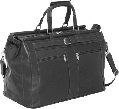 Piel Leather Carpet Bag - Black