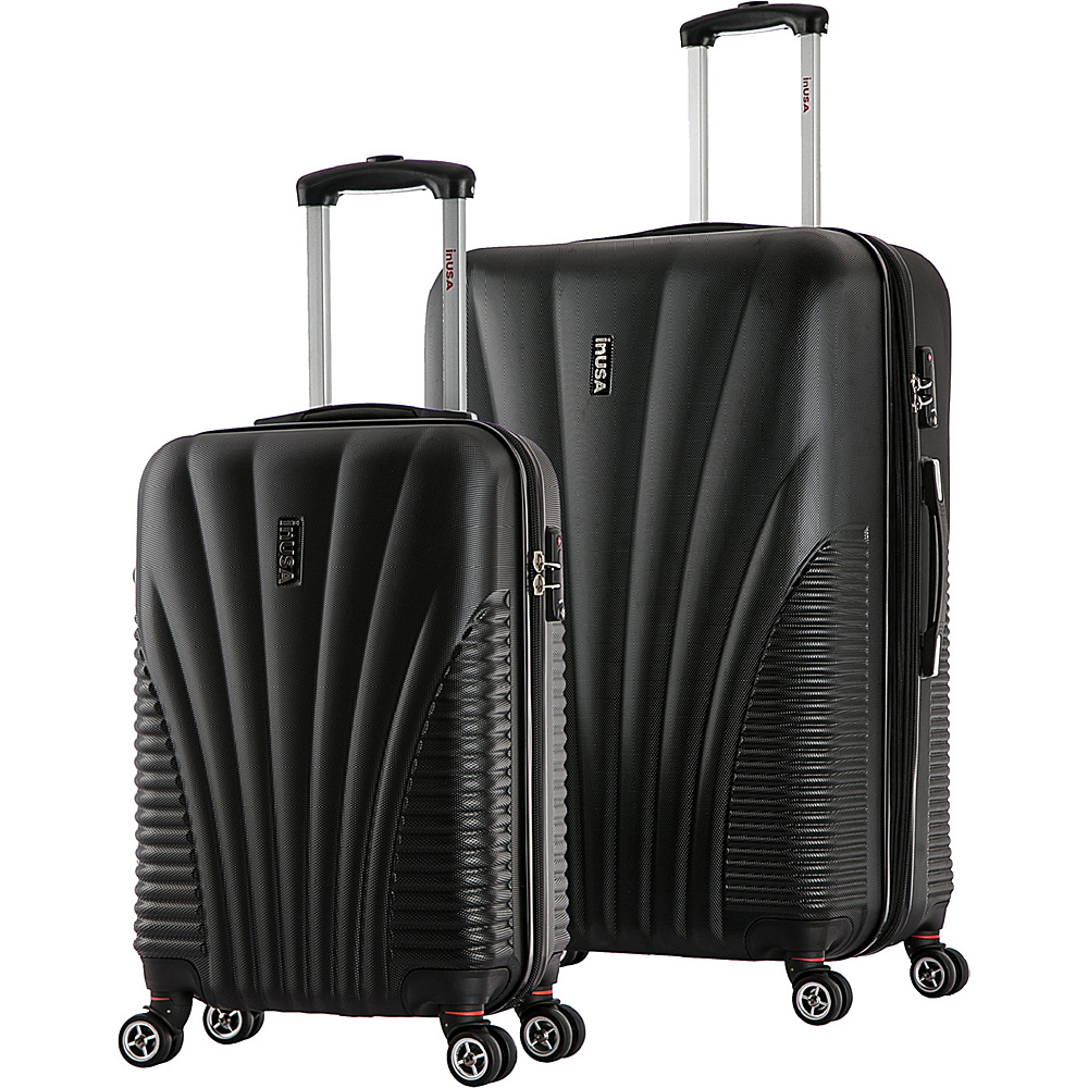 inUSA Chicago SM 2 Piece Lightweight Hardside Spinner Luggage Set Black inUSA Luggage Sets