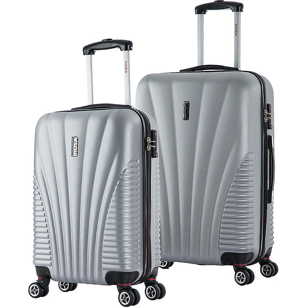 inUSA Chicago SM 2 Piece Lightweight Hardside Spinner Luggage Set Silver inUSA Luggage Sets