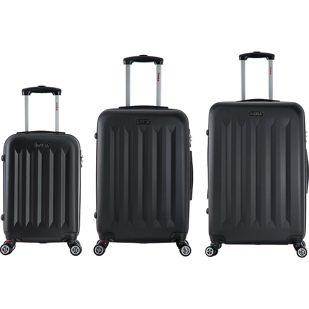 inUSA Philadelphia 3 Piece Lightweight Hardside Spinner Luggage Set Black inUSA Luggage Sets