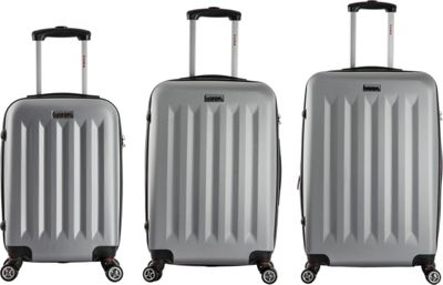 inUSA Philadelphia 3-Piece Lightweight Hardside Spinner Luggage Set Grey - inUSA Luggage Sets