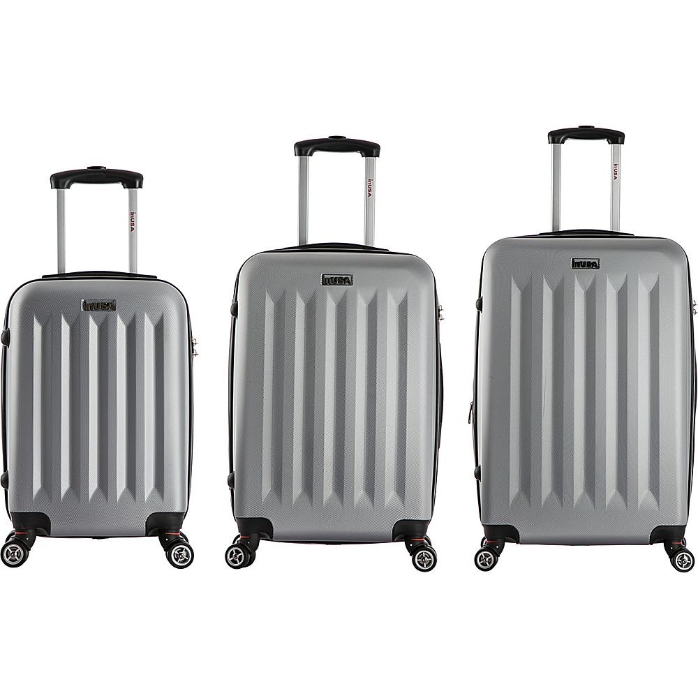 inUSA Philadelphia 3 Piece Lightweight Hardside Spinner Luggage Set Grey inUSA Luggage Sets