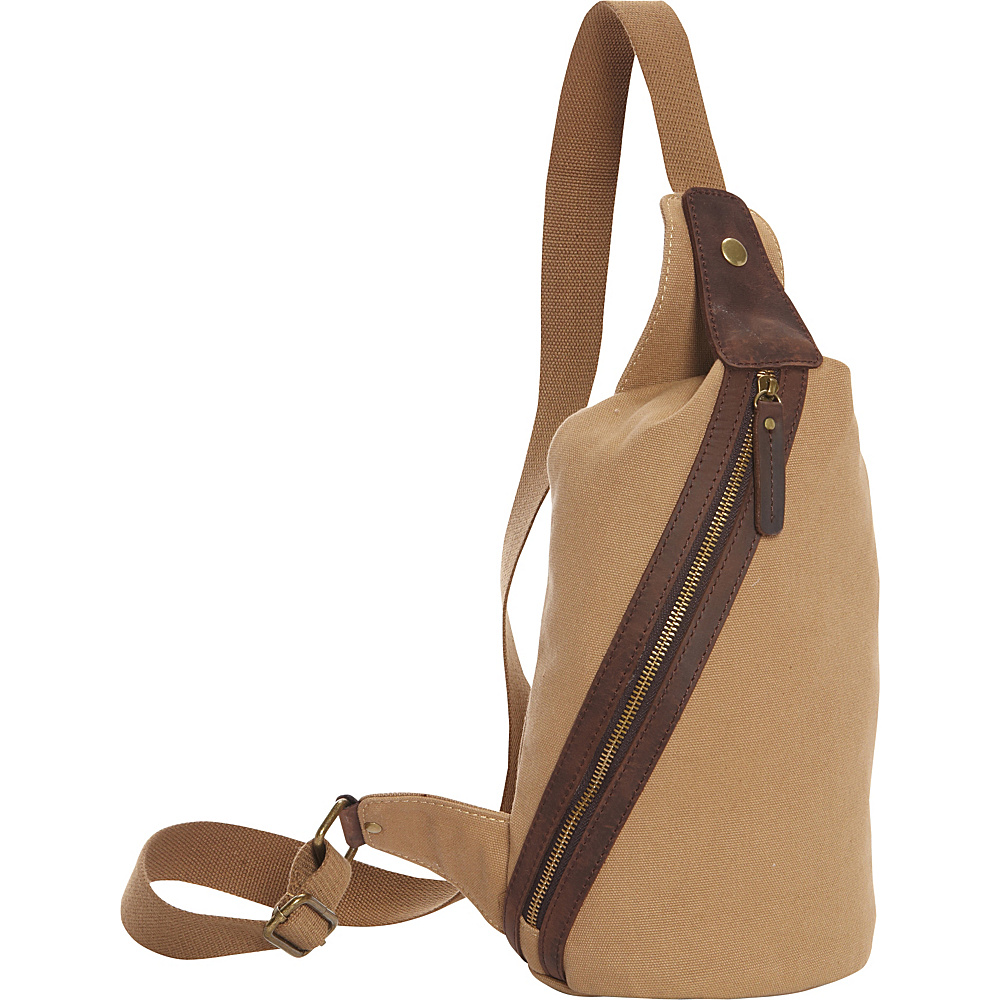 Vagabond Traveler Fashion Style Canvas Chest Pack Khaki - Vagabond Traveler Waist Packs - Backpacks, Waist Packs