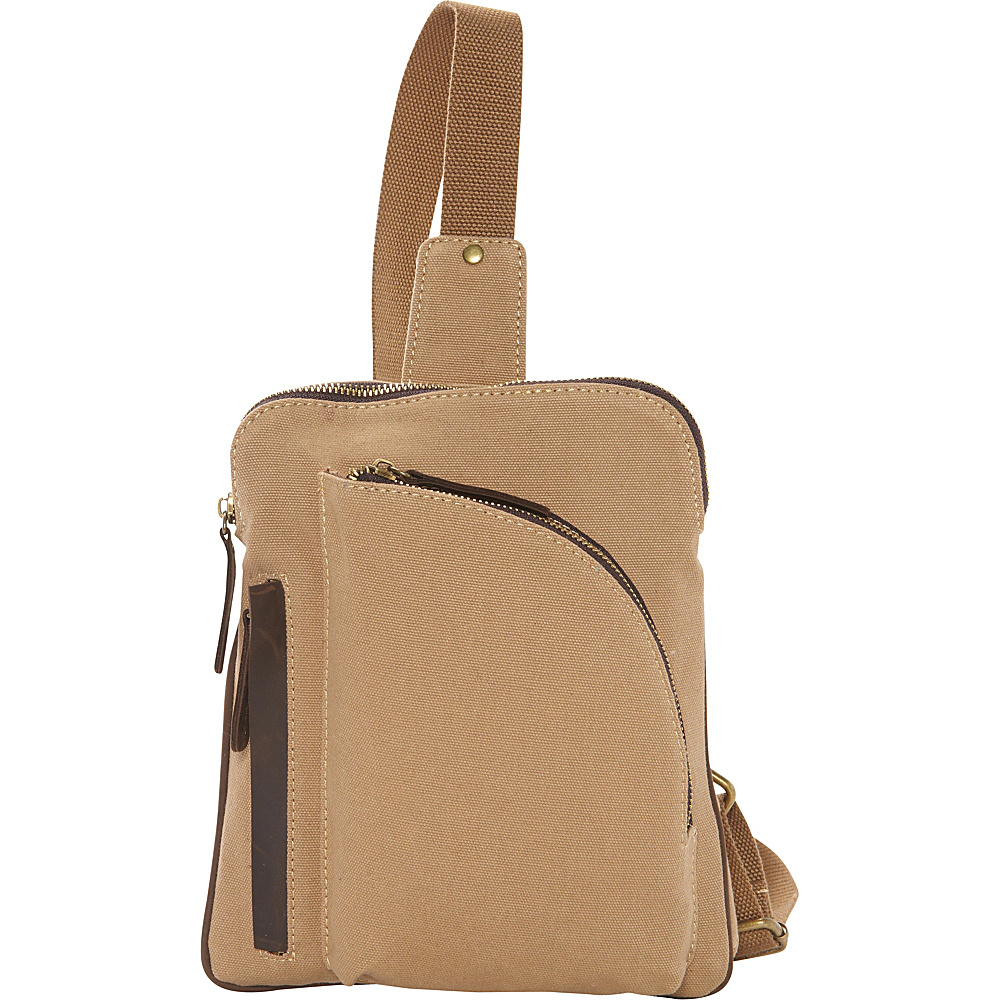 Vagabond Traveler Cotton Canvas Chest Pack Travel Bag Khaki - Vagabond Traveler Waist Packs - Backpacks, Waist Packs
