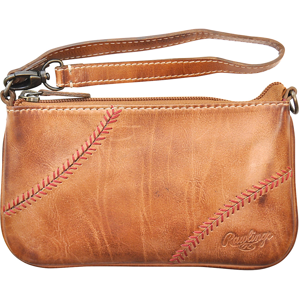 Rawlings Baseball Stitch Wristlet Tan Rawlings Leather Handbags