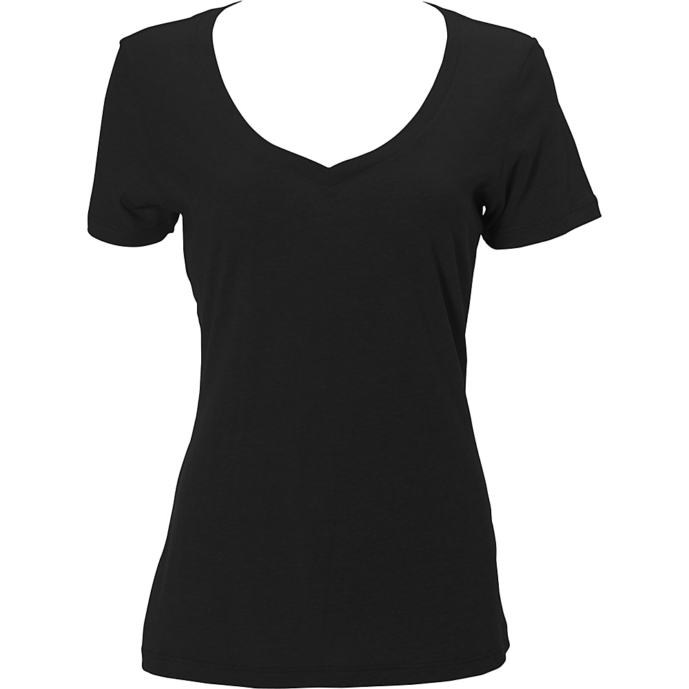 Simplex Apparel CVC Womens Deep V Tee L - Black - Simplex Apparel Womens Apparel - Apparel & Footwear, Women's Apparel