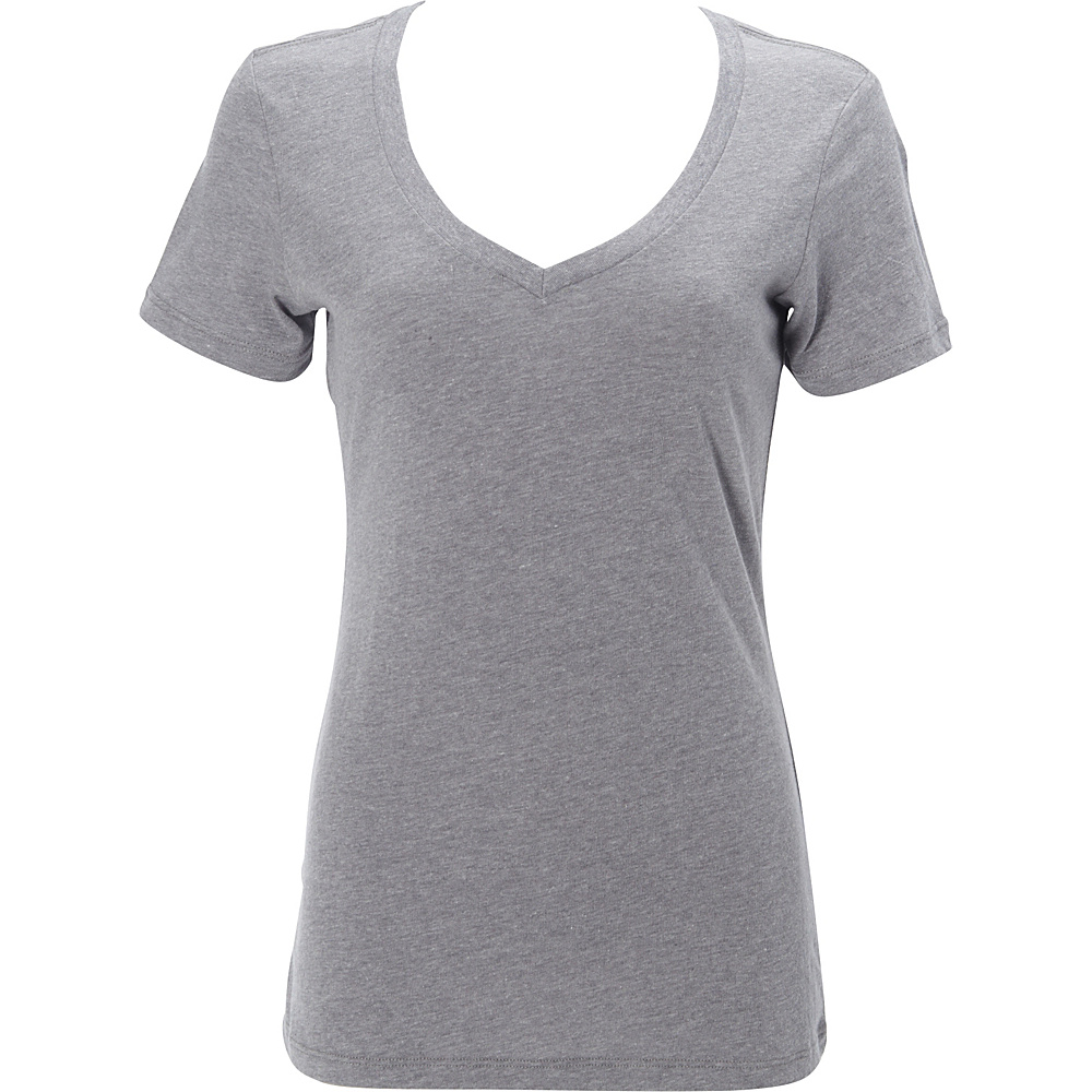 Simplex Apparel CVC Womens Deep V Tee L - Dark Heather Grey - Simplex Apparel Womens Apparel - Apparel & Footwear, Women's Apparel