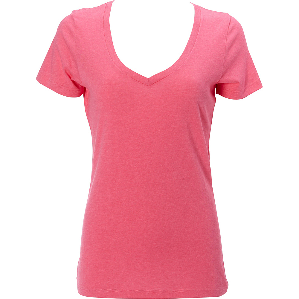 Simplex Apparel CVC Womens Deep V Tee L - Hot Pink - Simplex Apparel Womens Apparel - Apparel & Footwear, Women's Apparel