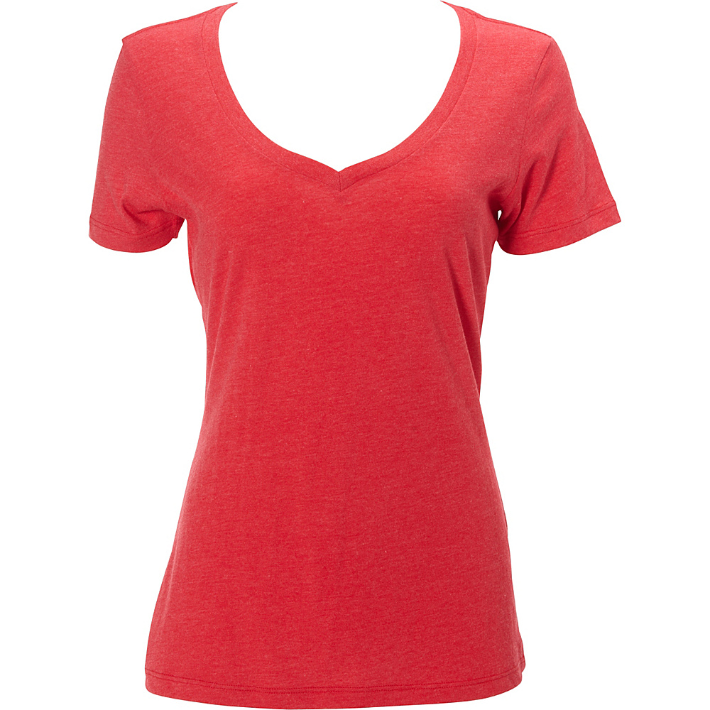 Simplex Apparel CVC Womens Deep V Tee L - Red - Simplex Apparel Womens Apparel - Apparel & Footwear, Women's Apparel