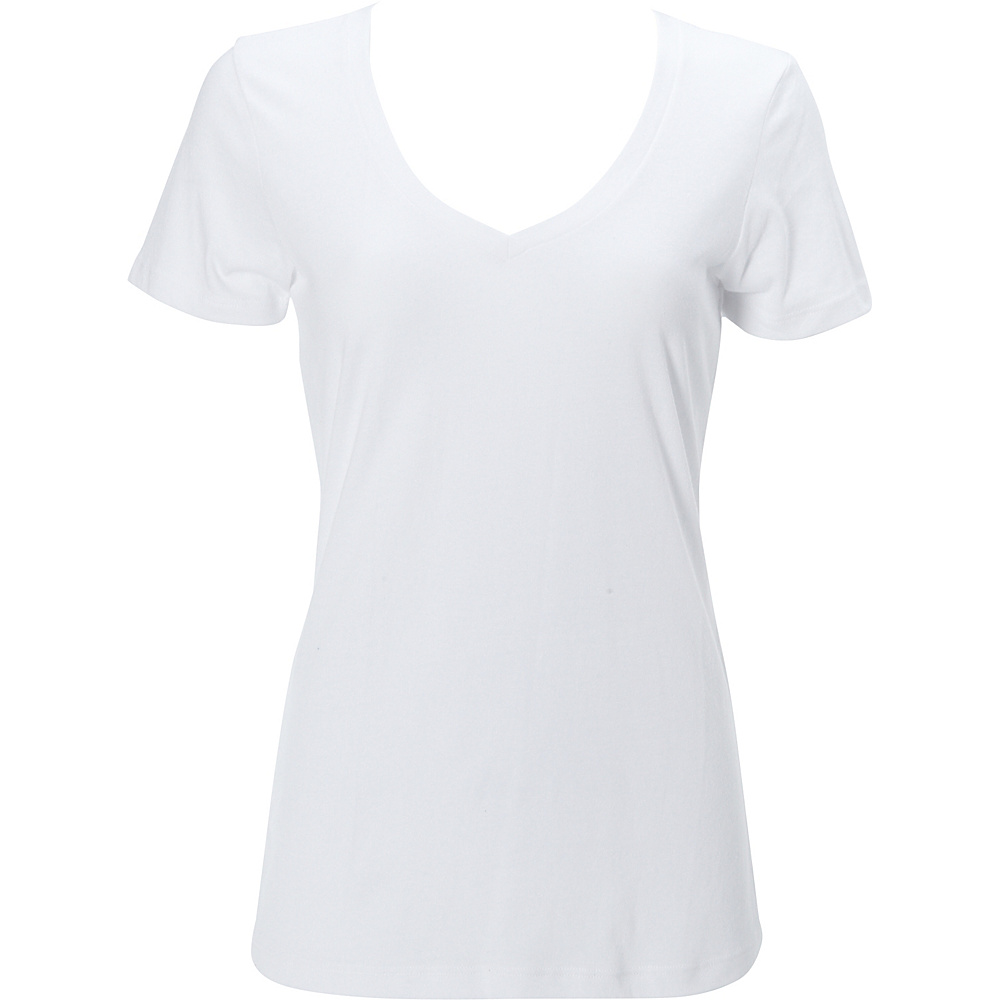Simplex Apparel CVC Womens Deep V Tee L - White - Simplex Apparel Womens Apparel - Apparel & Footwear, Women's Apparel