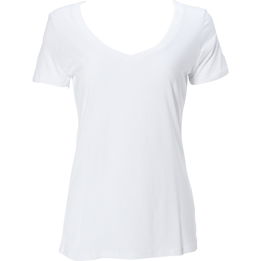 Simplex Apparel Modal Womens Deep V Tee L - White - Simplex Apparel Womens Apparel - Apparel & Footwear, Women's Apparel