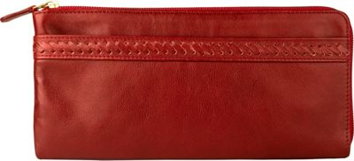 Hidesign Mina Oversized Zip Around Leather Wallet Red - Hidesign Women's Wallets