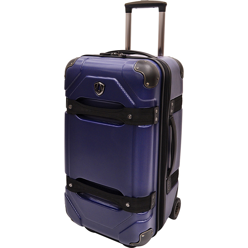 Traveler s Choice 24 Polycarbonate Hardside Rolling Trunk Luggage Blue Traveler s Choice Hardside Checked