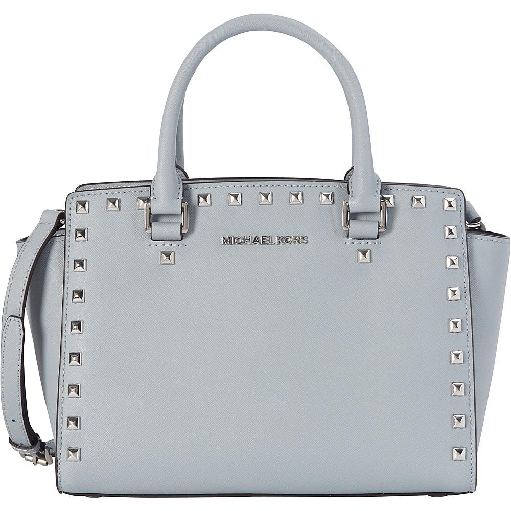 MICHAEL Michael Kors Selma Stud Medium Satchel Dusty Blue - MICHAEL Michael Kors Designer Handbags