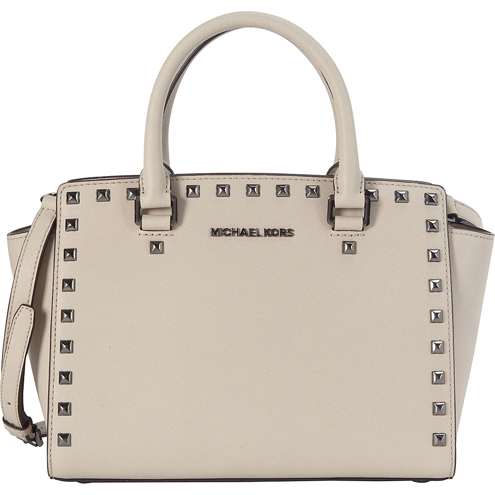 MICHAEL Michael Kors Selma Stud Medium Satchel Cement - MICHAEL Michael Kors Designer Handbags