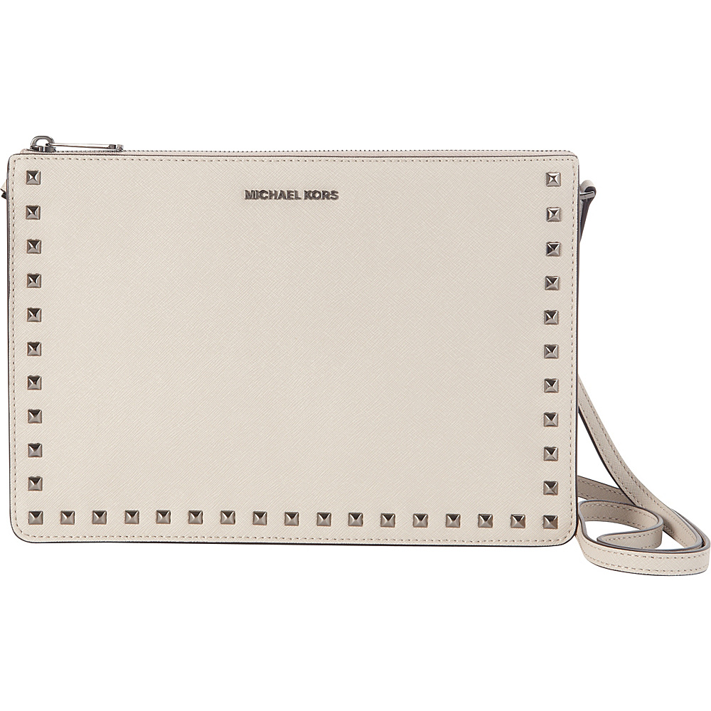 MICHAEL Michael Kors Ava Stud Large Pouch Cement - MICHAEL Michael Kors Designer Handbags