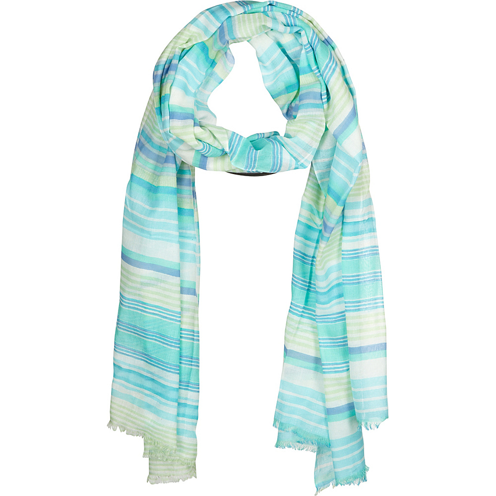 Kinross Cashmere Printed Stripe Scarf Lettuce Multi - Kinross Cashmere Hats/Gloves/Scarves - Fashion Accessories, Hats/Gloves/Scarves