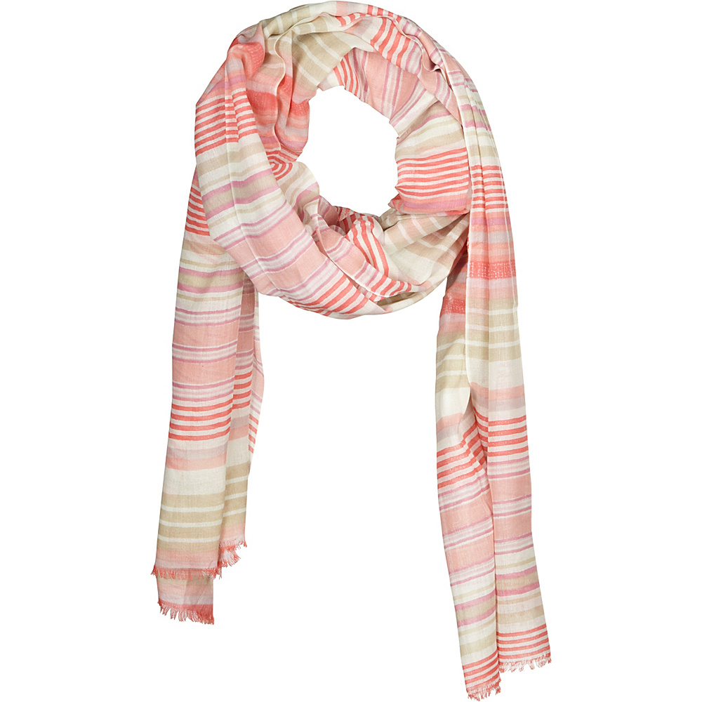 Kinross Cashmere Printed Stripe Scarf Quince Multi - Kinross Cashmere Hats/Gloves/Scarves