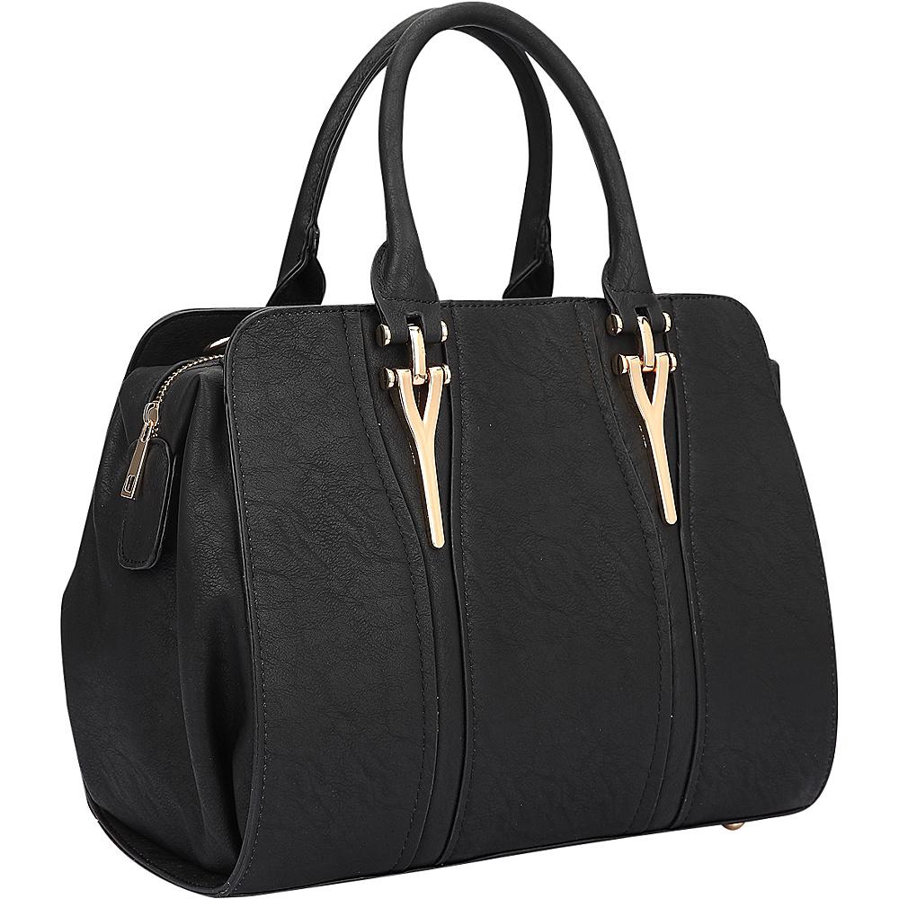 Dasein Faux Leather Satchel Shoulder Bag Black - Dasein Manmade Handbags - Handbags, Manmade Handbags