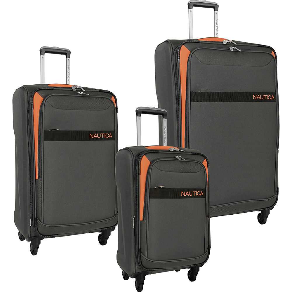 Nautica Halsey 3 Piece Set Grey/Orange - Nautica Luggage Sets