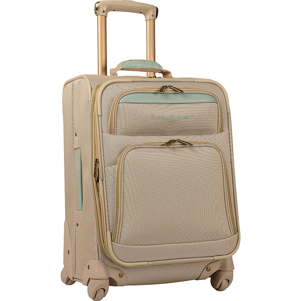 "Tommy Bahama Bahama Mama 20"" Expandable Spinner Champagne/Light Blue - Tommy Bahama Softside Checked"