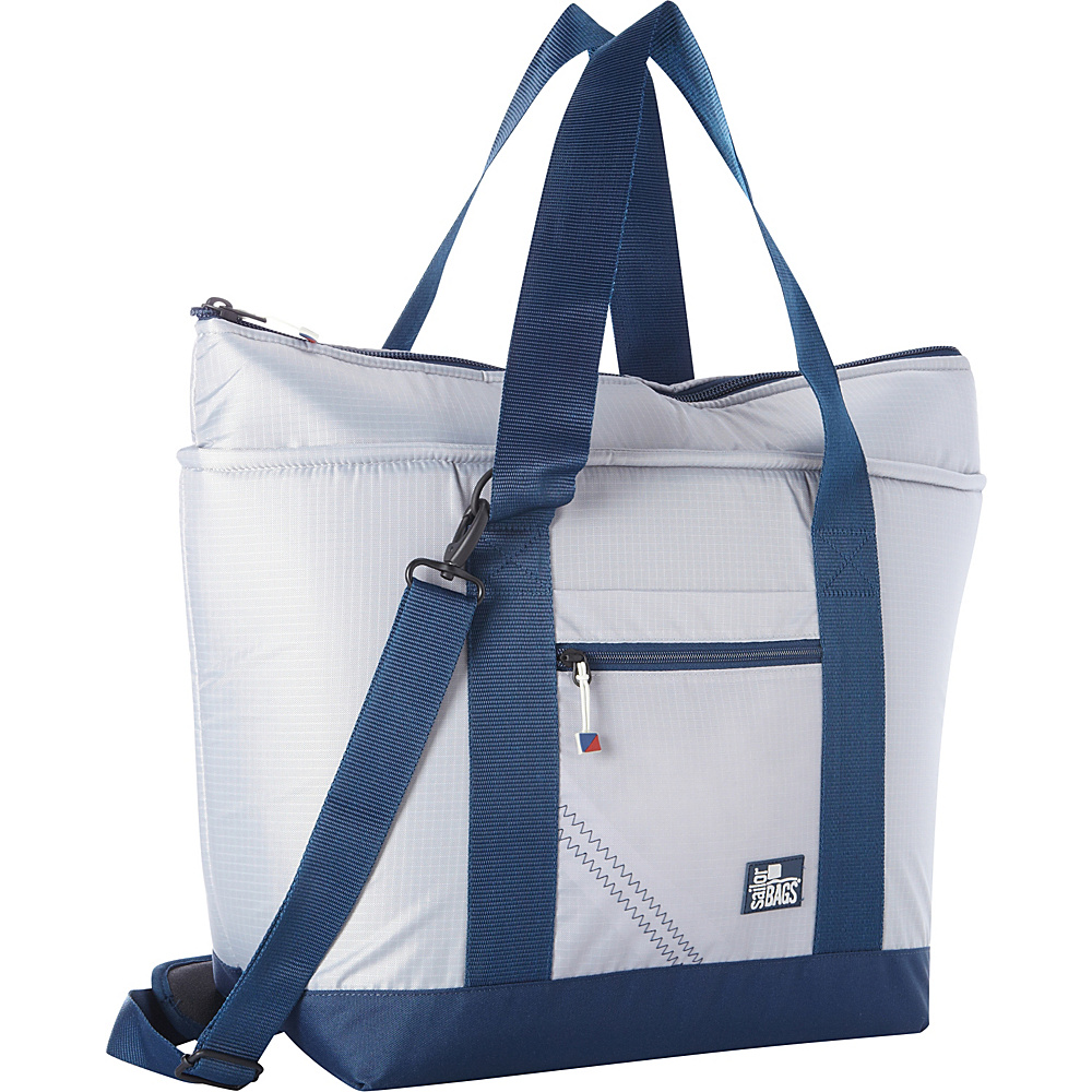 SailorBags Silver Spinnaker Insulated Cooler Tote Silver with Blue Trim SailorBags Travel Coolers