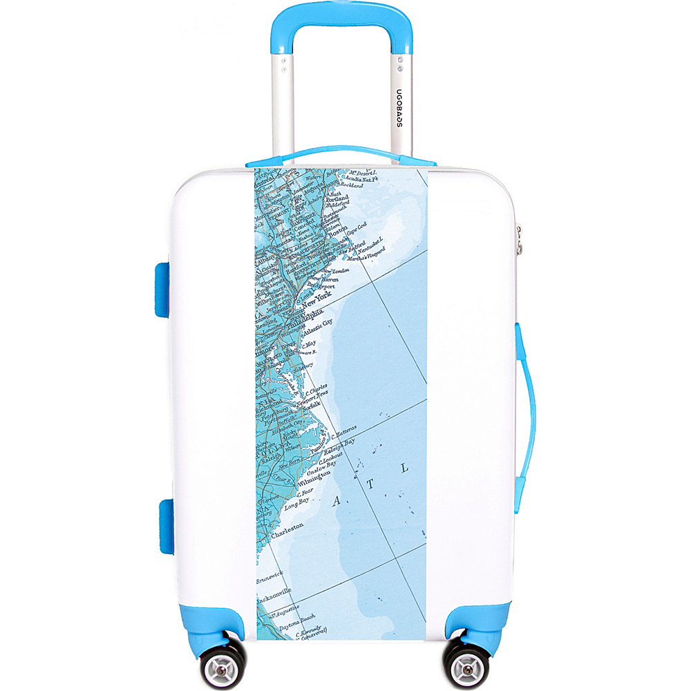 "Ugobags Map 22"" Luggage White - Ugobags Hardside Checked"
