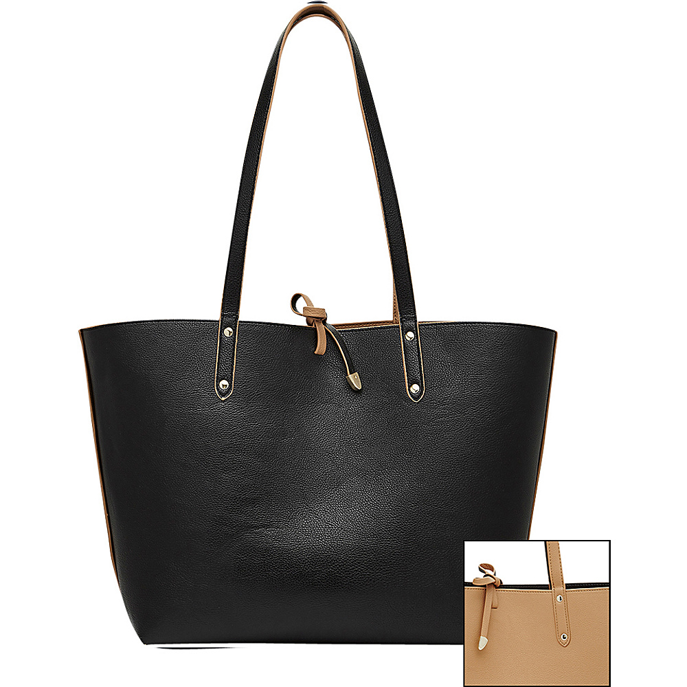 HButler Mighty Purse Phone Charging Reversible Tote Black amp; Tan HButler Manmade Handbags