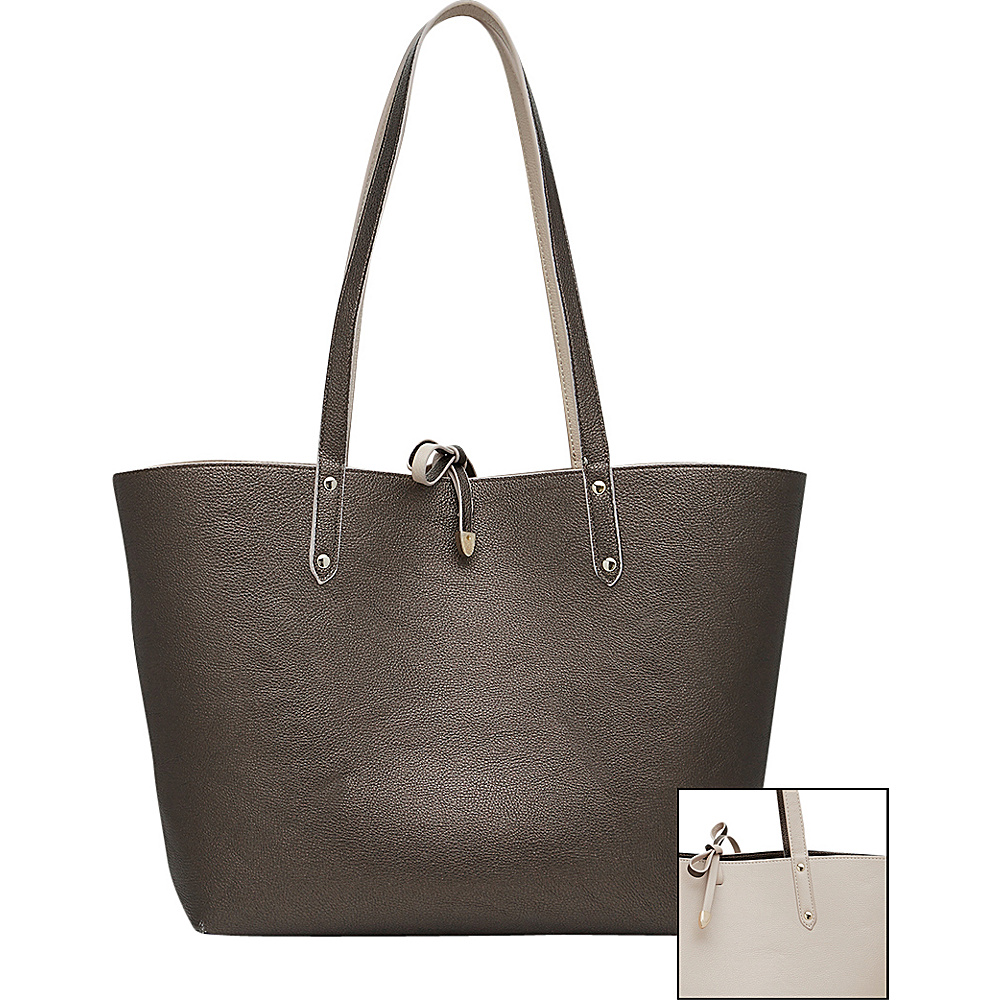 HButler Mighty Purse Phone Charging Reversible Tote Pewter amp; Light Taupe HButler Manmade Handbags