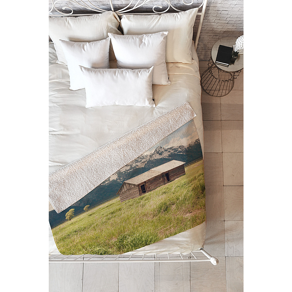 DENY Designs Catherine Mcdonald Sherpa Fleece Blanket Mountain Green - Summer in the Tetons - DENY Designs Travel Pillows & Blankets