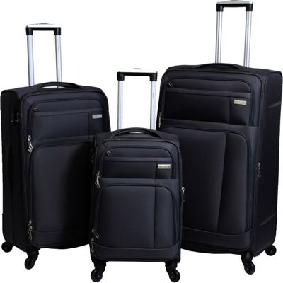 Ivy Hytech Ivy 3-Piece Spinner Lightweight Luggage Set Black - Ivy Luggage Sets