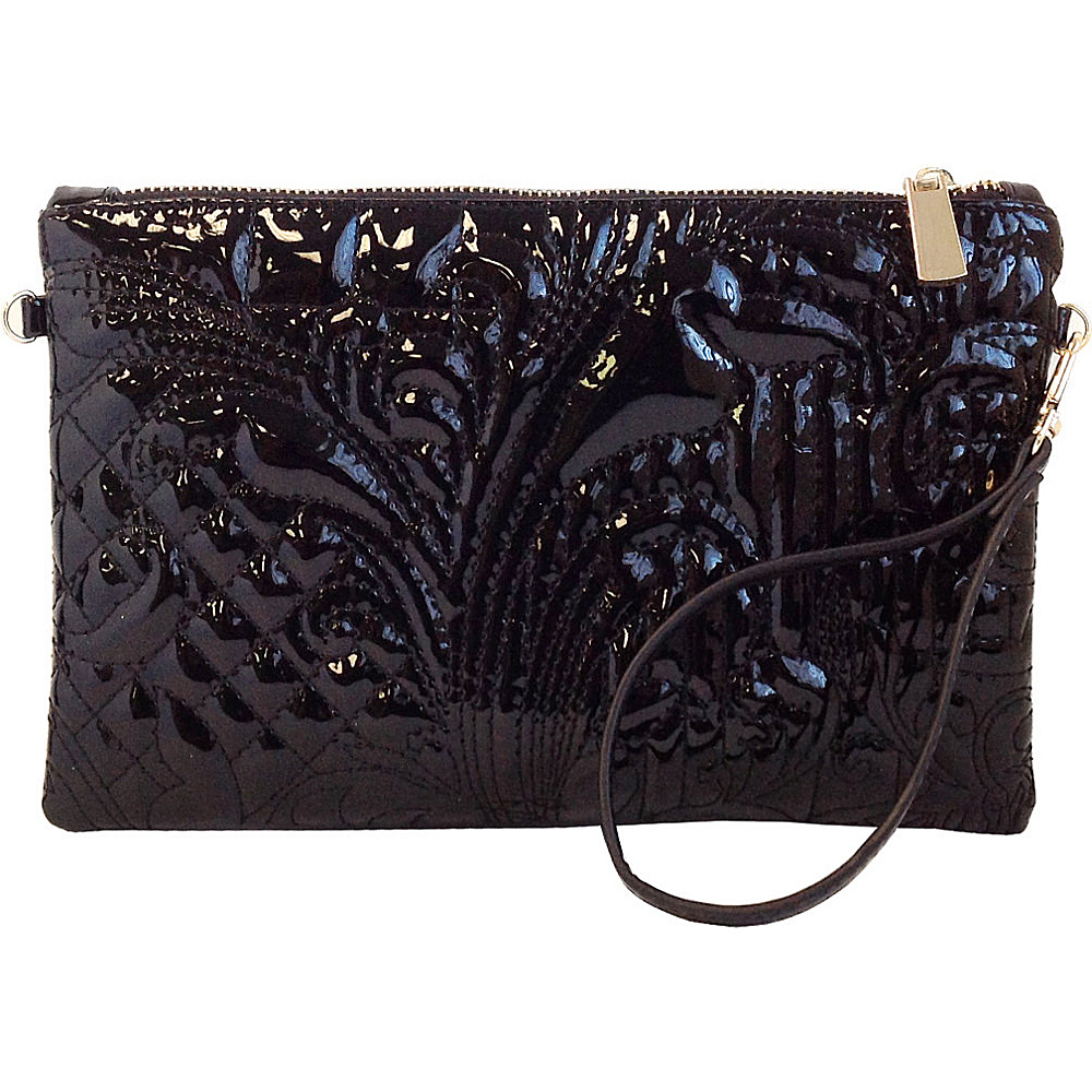 JNB Embroidered Patent Leather Wristlet Clutch Black JNB Manmade Handbags
