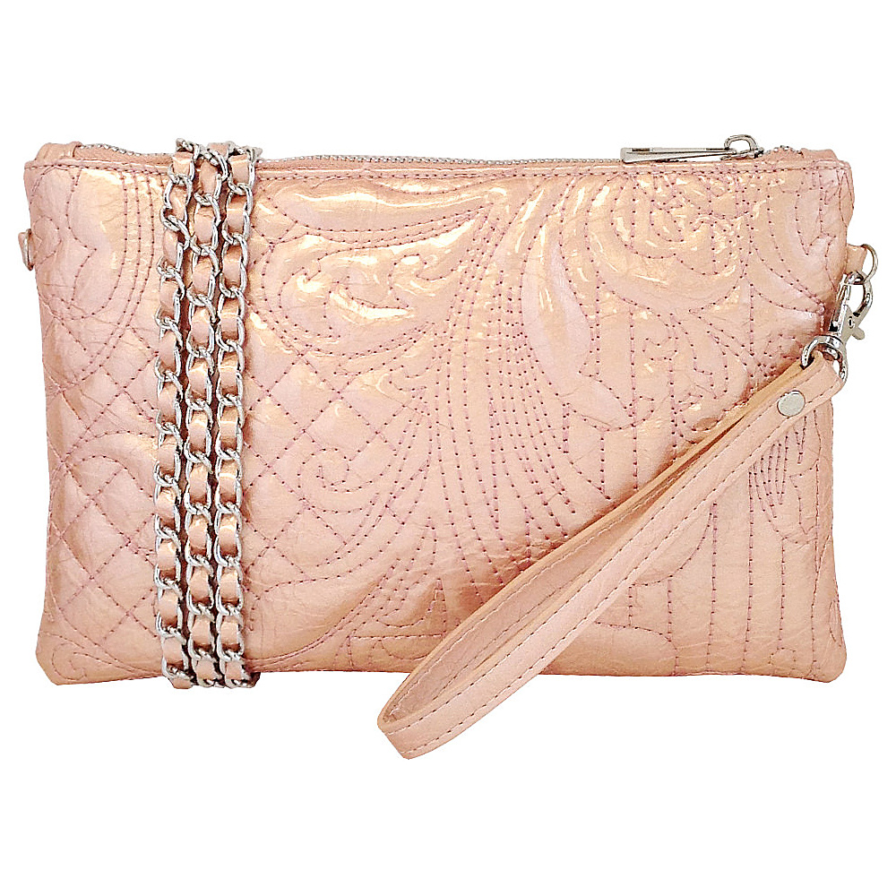 JNB Embroidered Patent Leather Wristlet Clutch Peach JNB Manmade Handbags