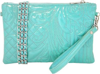 JNB Embroidered Patent Leather Wristlet/Clutch Mint - JNB Manmade Handbags