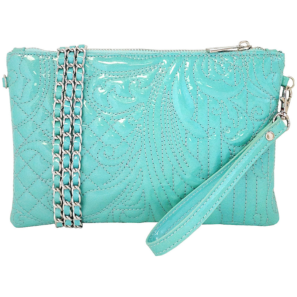 JNB Embroidered Patent Leather Wristlet Clutch Mint JNB Manmade Handbags