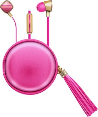 Macbeth Collection Fashionable Earbuds with Mic & Tassle Carrying Case Pink/Gold - Macbeth Collection Electronics