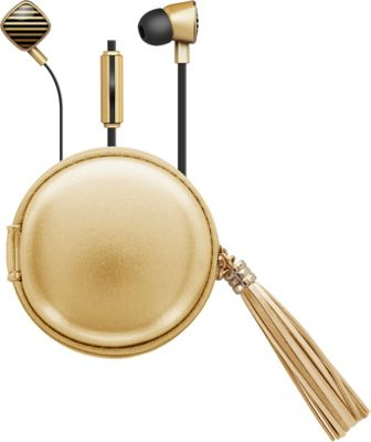 Macbeth Collection Fashionable Earbuds with Mic & Tassle Carrying Case White/Gold - Macbeth Collection Electronics